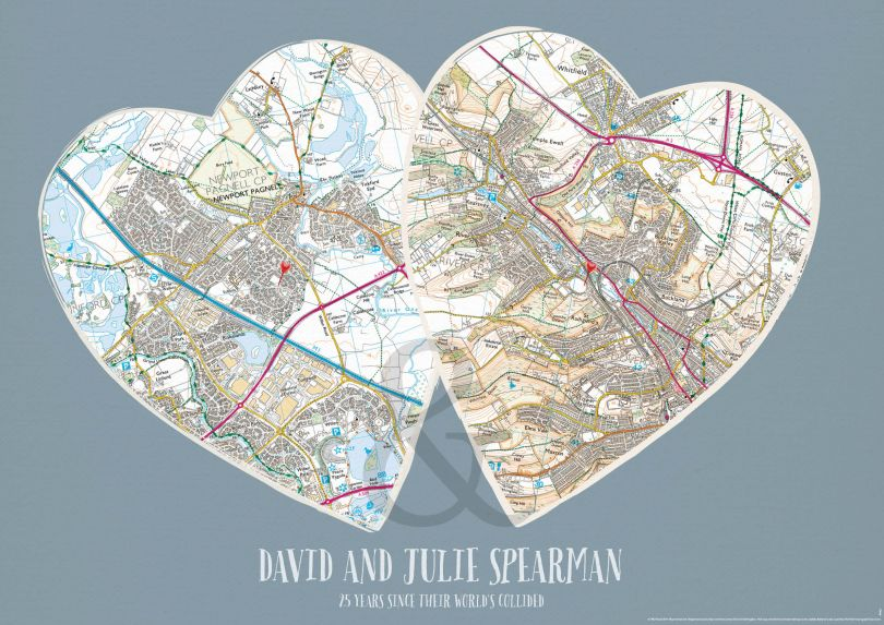 Personalised map - Couples Postcode Prints