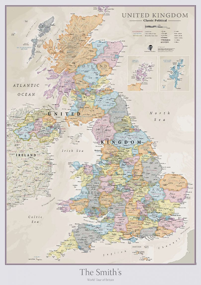 personalised map - UK Classic Wall Map