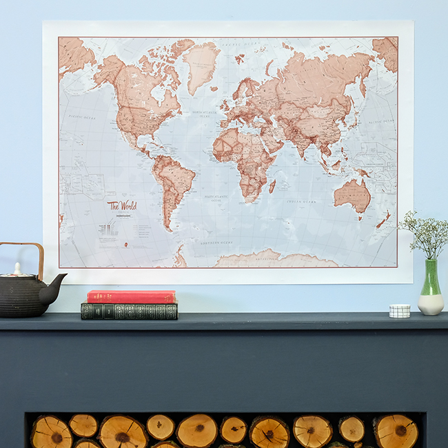 The World is Art Wall Map Red
