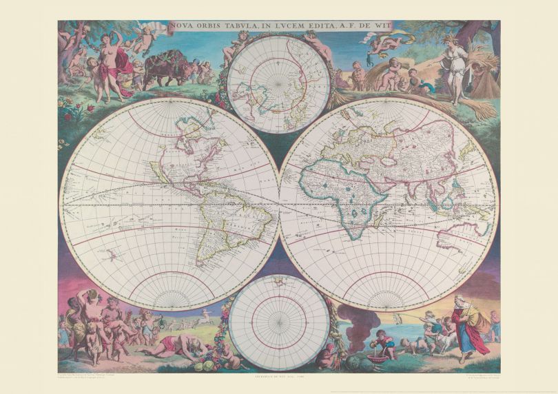 Vintage world map - double hemispher world map 1689