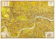 Small A-Z Pictorial Canvas Map Central London 1938 (Rolled Canvas - No Frame)