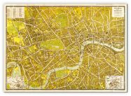 Small A-Z Pictorial Canvas Map Central London 1938 (Canvas)