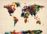 Large Abstract Painting Map of the World  (Rolled Canvas - No Frame)