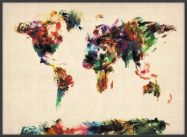 Large Abstract Painting Map of the World  (Pinboard & wood frame - Black)
