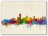 Small Adelaide Australia Watercolour Skyline (Canvas)