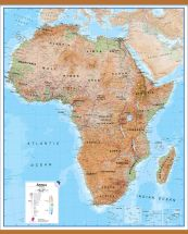 Huge Africa Wall Map Physical (Wooden hanging bars)