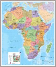 Huge Africa Wall Map Political (Pinboard & framed - Silver)