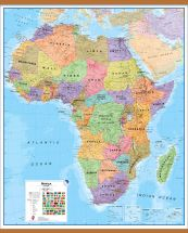 Large Africa Wall Map Political (Wooden hanging bars)