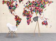 Wallpaper Butterflies Art Map of the World