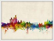 Medium Amsterdam The Netherlands Watercolour Skyline (Wood Frame - White)