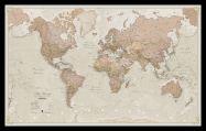 Medium Antique World Map (Pinboard & framed - Black)