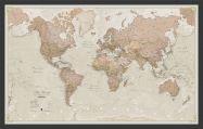 Medium Antique World Map (Pinboard & wood frame - Black)
