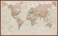 Huge Antique World Map (Pinboard & framed - Dark Oak)