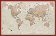 Medium Antique World Map (Pinboard & framed - Dark Oak)