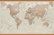 Huge Antique World Map (Rolled Canvas with Wooden Hanging Bars)