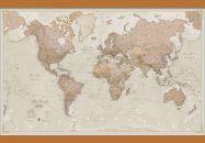 Medium Antique World Map (Wooden hanging bars)