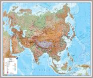 Huge Asia Wall Map Physical (Pinboard & framed - Silver)