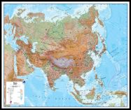 Huge Asia Wall Map Physical (Pinboard & framed - Black)