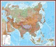 Huge Asia Wall Map Physical (Pinboard & framed - Dark Oak)