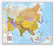 Large Asia Wall Map Political (Canvas)