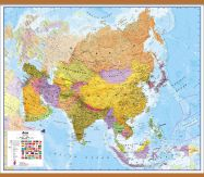 Large Asia Wall Map Political (Wooden hanging bars)