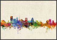 Large Baltimore Maryland Watercolour Skyline (Wood Frame - Black)