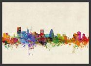 Medium Baltimore Maryland Watercolour Skyline (Pinboard & wood frame - Black)