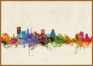 Large Baltimore Maryland Watercolour Skyline (Pinboard & wood frame - Teak)