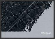 Small Barcelona City Street Map Print Charcoal (Wood Frame - Black)