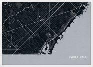 Small Barcelona City Street Map Print Charcoal (Wood Frame - White)