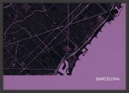 A3 Barcelona City Street Map Print Mauve (Wood Frame - Black)