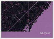A3 Barcelona City Street Map Print Mauve (Wood Frame - White)