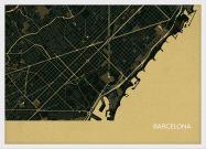 A3 Barcelona City Street Map Print Straw (Wood Frame - White)