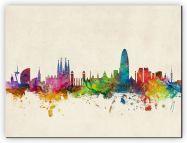 Medium Barcelona Spain Watercolour Skyline (Canvas)