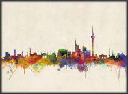 Large Berlin City Skyline (Pinboard & wood frame - Black)