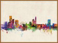 Large Birmingham City Skyline (Pinboard & wood frame - Teak)