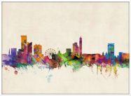 Large Birmingham City Skyline (Wood Frame - White)