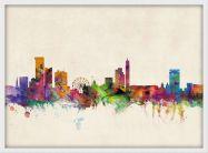 Medium Birmingham City Skyline (Wood Frame - White)