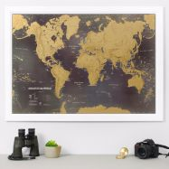 Scratch the World® black edition map print (Pinboard & wood frame - White)