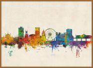 Large Brighton City Skyline (Pinboard & wood frame - Teak)