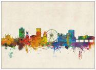 Large Brighton City Skyline (Pinboard & wood frame - White)