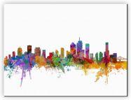 Small Brisbane Australia Watercolour Skyline (Canvas)