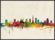 Large Bristol City Skyline (Pinboard & wood frame - Black)