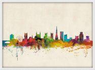 Medium Bristol City Skyline (Pinboard & wood frame - White)