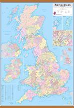Huge British Isles Administrative Map (Wooden hanging bars)