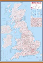 Large British Isles Postcode Map (Wooden hanging bars)