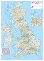 Large British Isles Routeplanning Map (Wood Frame - White)