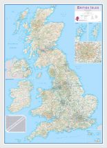 Medium British Isles Routeplanning Map (Wood Frame - White)