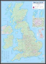 Large British Isles Sales and Marketing Map (Pinboard & wood frame - Black)