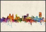 Large Buffalo New York Watercolour Skyline (Wood Frame - Black)